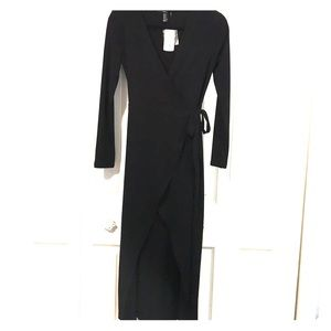 Dresses & Skirts - FOREVER 21, Long Black Wrap Dress NWT
